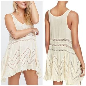 Free People Trapeze Dress Boho Polka Dots & Lace